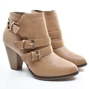 Taupe Faux Leather Almond Toe Stacked Heel Booties